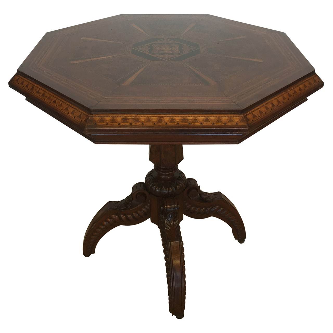 19th century American burl walnut parquetry inlaid pedestal table.