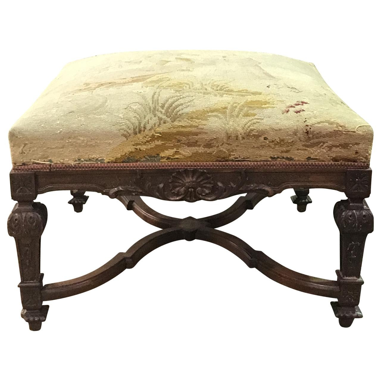 English Walnut Bench c. 1900 with needlepoint upholstery