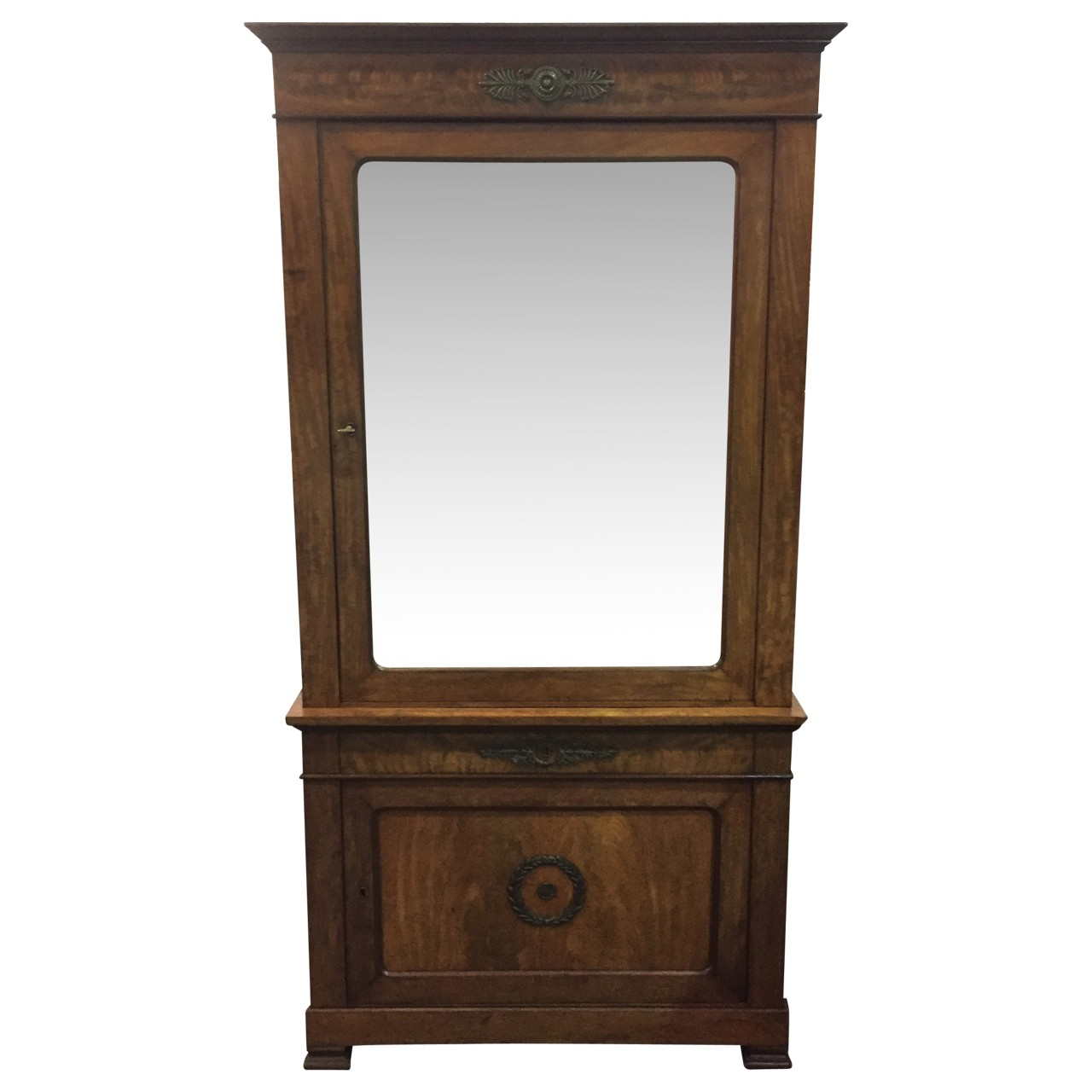 19th century French mahogany, mirror front cabinet. Ca 1840